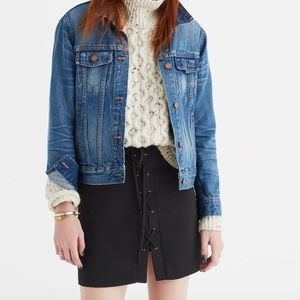 Madewell black lace up skirt